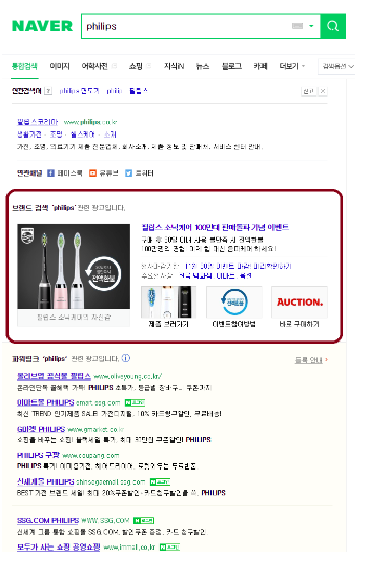 Naver Desktop View Brand Search Example