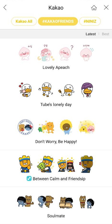 kakao friends emoticons